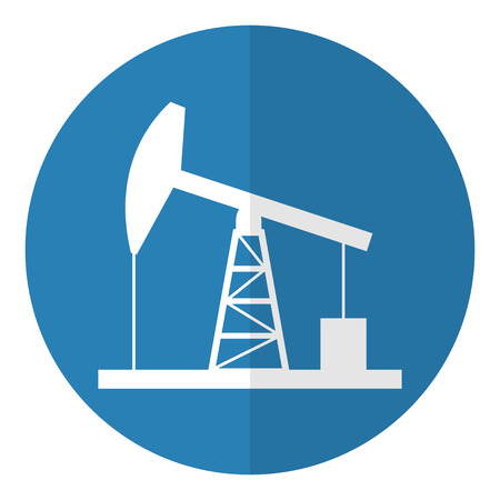 Oil derrick icon. Flat style. Vector illustration. Çizim