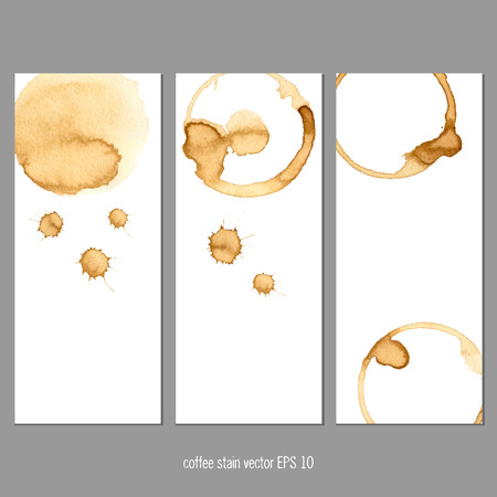 coffee stains: Vector banners with coffee stain watercolor. Abstract watercolor. Abstract hand drawn watercolor banner, vector illustration.