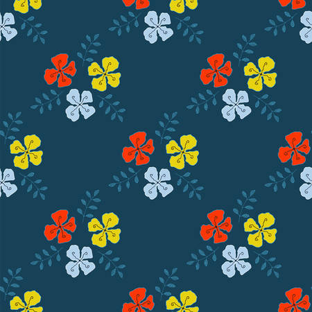 sprigs: Flowers with sprigs of leaves seamless pattern