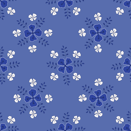 sprigs: Flowers with sprigs of leaves seamless pattern, handmade,vector illustration. Illustration