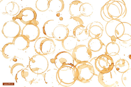 Kaffeefleck Aquarell Vektor. Kaffee-Fleck, auf weißen Hintergrund. Sammlung von Kreis verschiedenen Kaffeeflecken auf weißem Hintergrund.