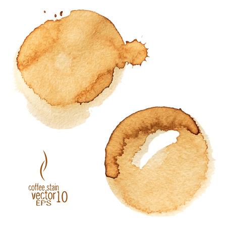 コーヒーの染み水彩ベクトル。コーヒーのしみは、白い背景で隔離。 サークル集様々 なコーヒーの染み白い背景上に分離。