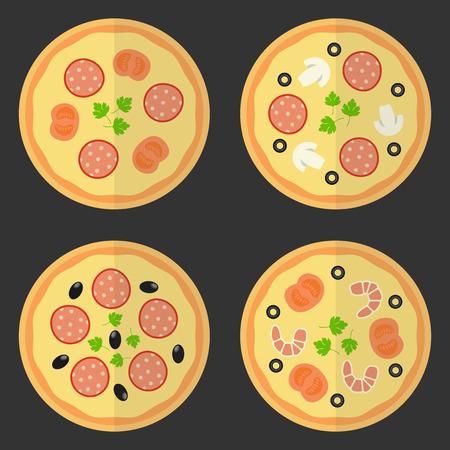 logo de comida: Icono plana pizza. Conjunto de vectores de comida r�pida. Vector conjunto de elementos de dise�o.