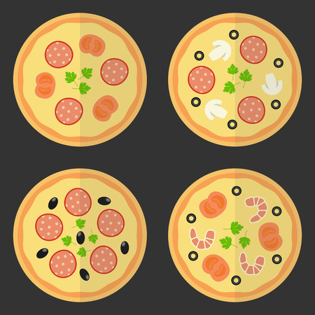 unhealthy food: Pizza flat icon. Vector set fast food.  Vector set of elements design. Illustration