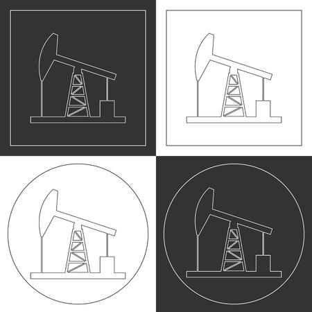 plots: Oil derrick line icons. Contour plots. Vector illustration.