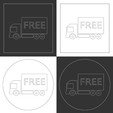 Free shipping truck line icons. Contour plots. Vector illustration. Vector