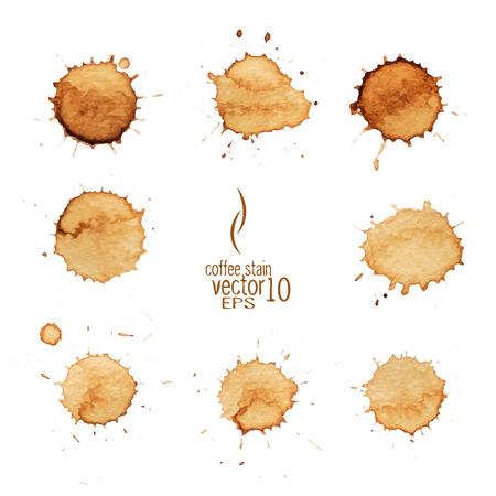 tazas de cafe: Caf� mancha de acuarela vector. Mancha de caf�, aislados en fondo blanco. Vectores