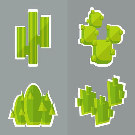 carnegiea: Abstract cactus flat style. Set of simple cactus. Illustration