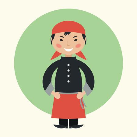 chef caricatura: Divertidos dibujos animados chef de sushi ilustración vectorial plana Vectores