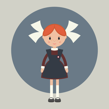 child girl: Soviet schoolgirl in school uniform. Simple flat vector. Illustration