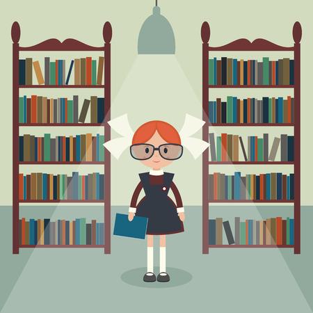 soviet: Soviet cartoon schoolgirl in library. Soviet schoolgirl in school uniform.  Simple flat vector.