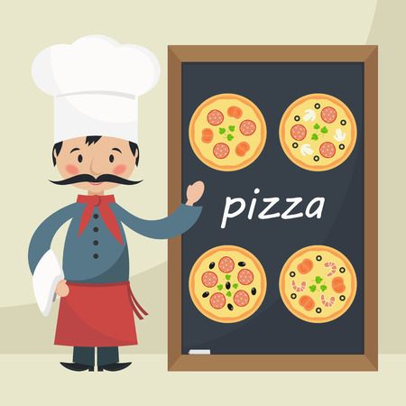 Funny cartoon chef cook with menu pizza. Flat vector illustration.