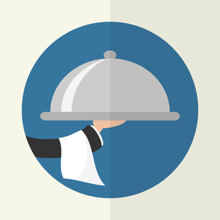 Foods Service icon. Food Serving tray platter. Simple flat vector.