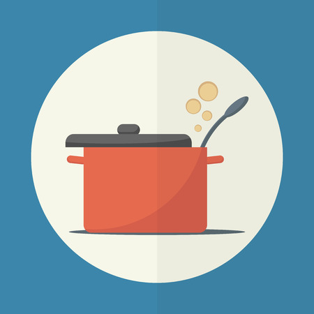 cooking utensils: Cooking pan with lid open. Simple flat vector icon.