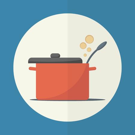 Cucinare pentola con coperchio aperto. Semplice vettore icona piatta.