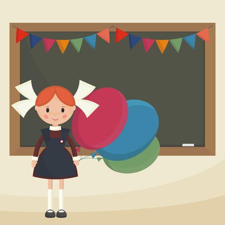 colegiala: Colegiala con globos cerca de la junta escolar. Colegiala Sovi�tica en uniforme escolar. Vector plana simple.