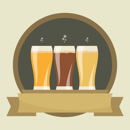 token: Beer labels with three glasses of beer. Beverages Service icon. Simple flat vector.