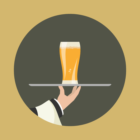 arms outstretched: Waiter with glass of beer and tray on outstretched arm. Foods Service icon. Simple flat vector.