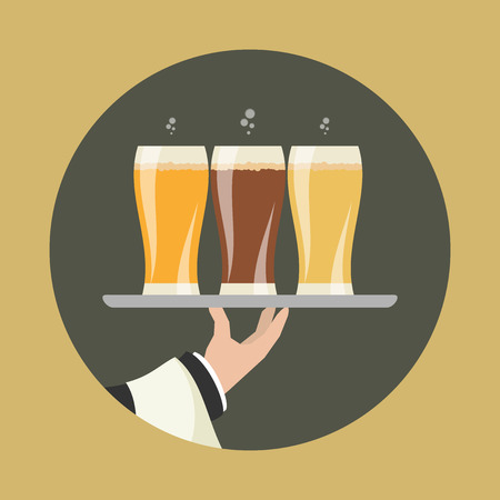outstretched: Waiter with three glasses of beer and tray on outstretched arm. Foods Service icon. Simple flat vector.