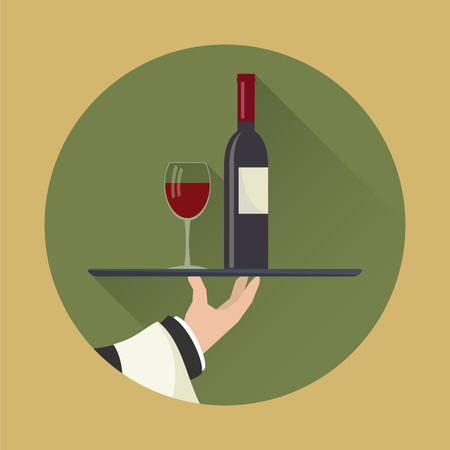 Waiter with wine bottle and wine glass and tray on outstretched arm. Drinks Service icon with long shadow. Simple flat vector.