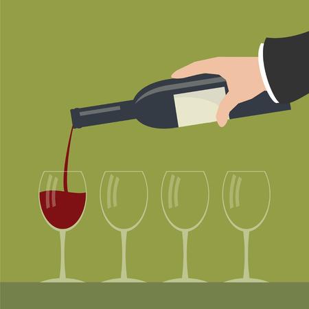 adentro y afuera: Derramando vino tinto de una botella en copas. Simple ilustración vectorial plana.