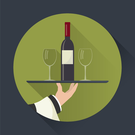 outstretched: Waiter with wine bottle and wine glasses and tray on outstretched arm. Drinks Service icon with long shadow. Simple flat vector. Illustration