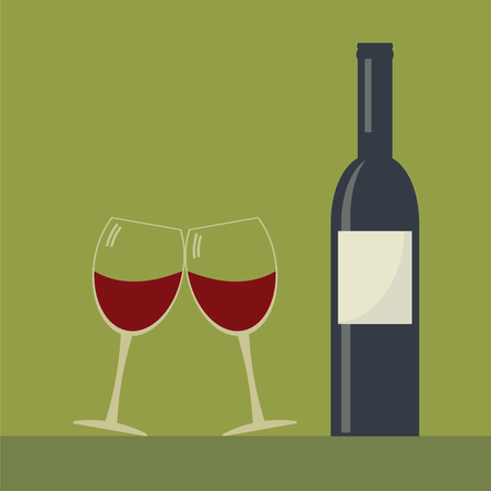 clink: Wine bottle and two clink glasses wine glasses . Serving wine. Simple flat vector. Illustration