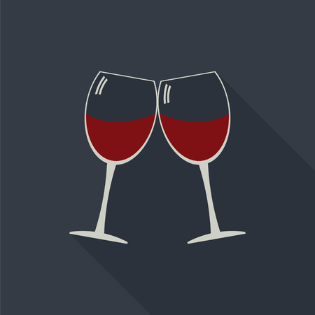 clink: Wine glasses clink glasses icon with long shadows. Alcohol service icon.  Serving wine vector.