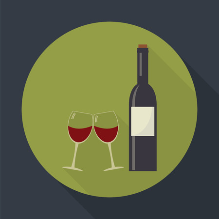 clink: Wine bottle and clink glasses wine glasses  flat round icon with long shadows.