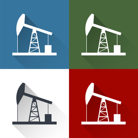 petroleum blue: Oil derrick flat icon with long shadow. Illustration