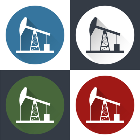 derrick: Oil derrick, round flat icon with long shadow.