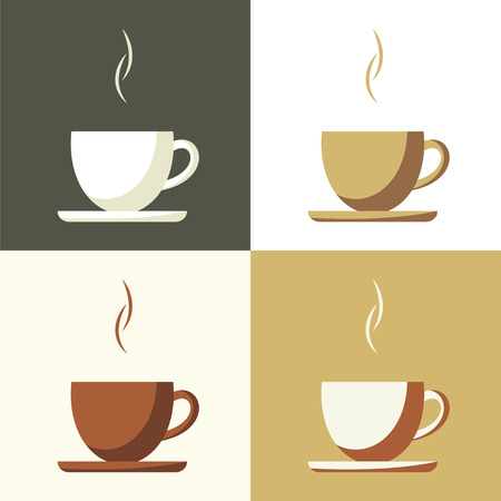 コーヒーカップ: コーヒー カップは、フラット単純なベクトルのアイコンを設定します。  イラスト・ベクター素材