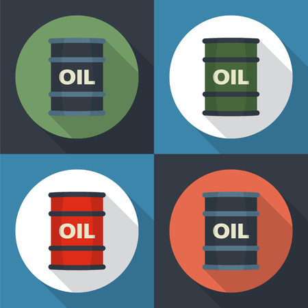 pail tank: Barrel oil round icon flat style with long shadows.