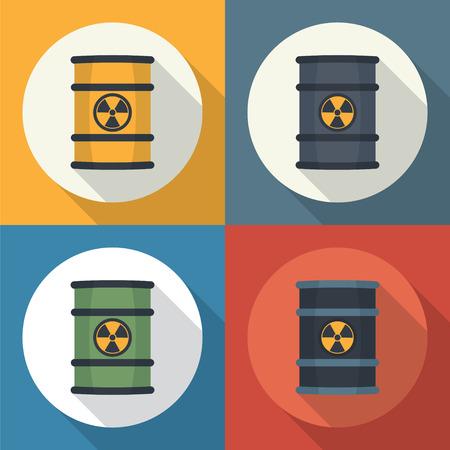 symbole chimique: Les d�chets radioactifs en f�ts ic�ne ronde de style plat avec de longues ombres.