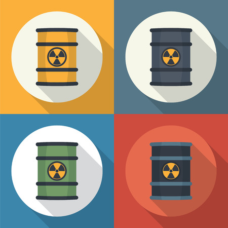 barrels with nuclear waste: Radioactive waste in barrels round icon flat style with long shadows.