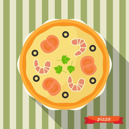 Pizza icon with long shadows. Vector illustration, flat icon, design element. Illustration