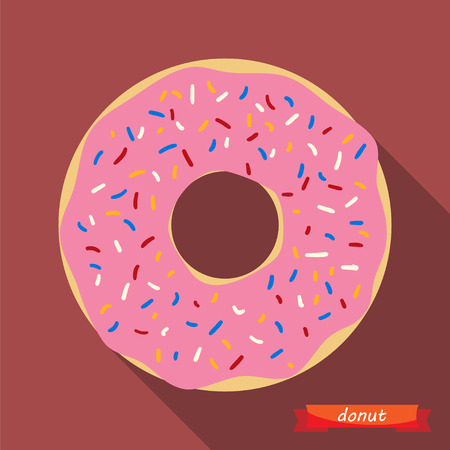 Donut with coloured sprinkles.  Vector illustration, flat icon with long shadows. design element.
