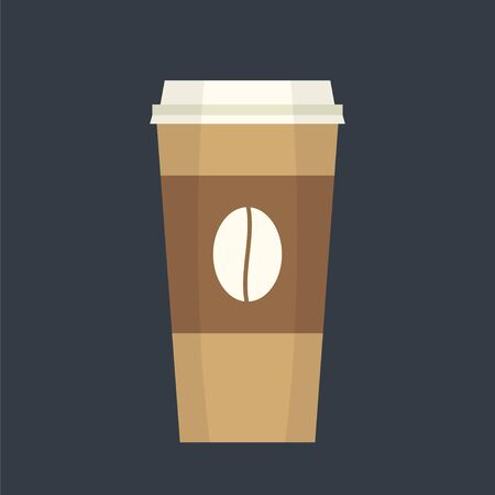 coffee time: Disposable coffee cup simple flat illustration