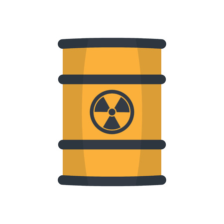 Radioactive waste in barrel, flat style