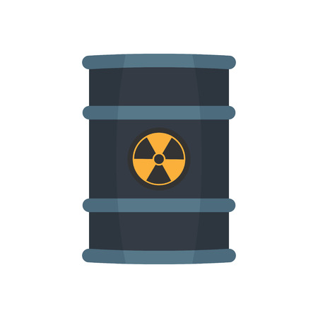 barrels with nuclear waste: Radioactive waste in barrel, flat style