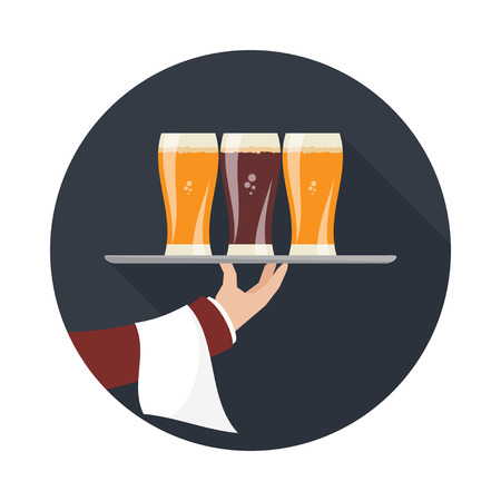 waiter tray: Waiter with three glasses of beer and tray on outstretched arm. Foods Service icon with long shadow Illustration