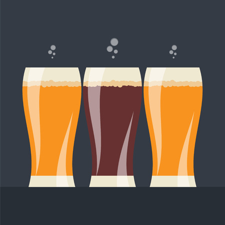 designation: Beer labels with three glasses of beer Illustration