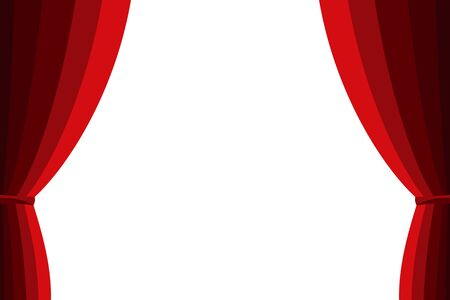 spectacle frame: Red curtain opened on a white background
