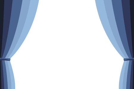 white curtain: Blue curtain opened on a white background