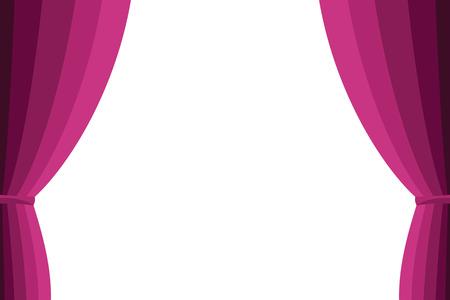 cortinas: Cortina rosada abierta sobre un fondo blanco