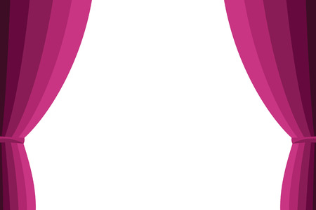 Pink curtain opened on a white background