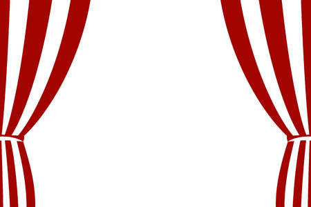 Red curtain opened on a white background