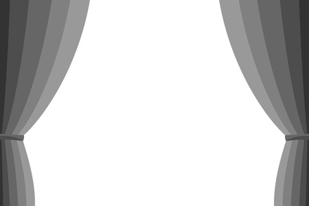 spectacle frame: Grey curtain opened on a white background Illustration