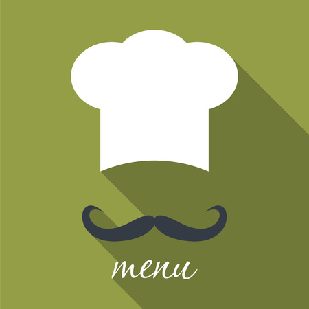catering service: Big chef hat with mustache. Foods Service icon. Menu card with long shadow. Simple flat vector illustration Illustration