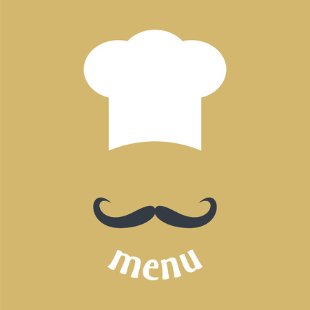 hat: Big chef hat with mustache. Foods Service icon. Menu card. Simple flat vector illustration